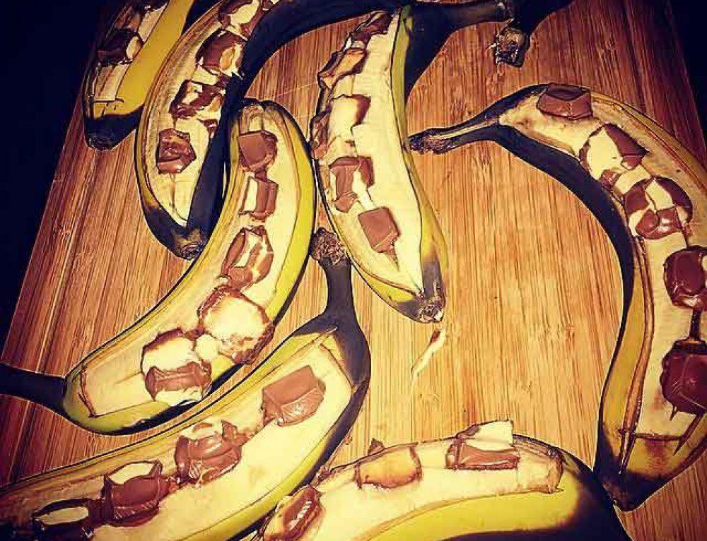 Banane mit Kinderschokolade